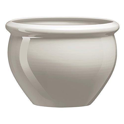 Emsa Blumenkübel für Innen- und Außenbereich, Glasurkeramik-Optik, Ø 38 cm, Seidengrau, Siena Nobile, 517493