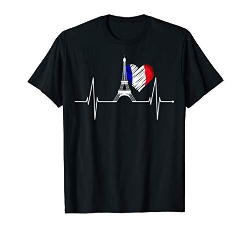Paris T-Shirt Herzschlag Eiffelturm Skyline Frankreich Herz