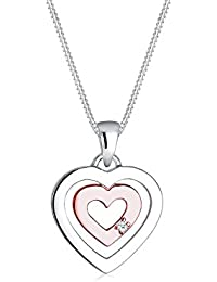 DIAMORE Women's 925 Silver Xilion Cut Gold Plated Heart  Love Friendship Love Token Diamond Necklace Of Length 45 cm