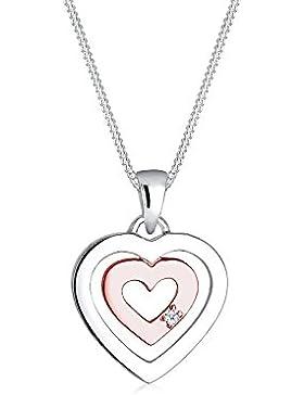 Diamore Damen Halskette Herz 925 Sterling Silber Diamant rose Vergoldet weiß 0,02 ct Länge 45 cm