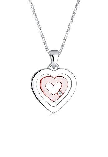 DIAMORE Damen Schmuck Halskette Kette mit Anhänger Herz Liebe Freundschaft Liebesbeweis Silber 925 Rosé Vergoldet Diamant 0,02 Karat Weiß Länge 45 cm