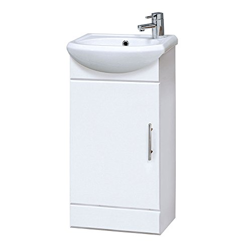 Premier nvs100 400 mm high gloss mayford compact mobile da bagno e lavandino – bianco