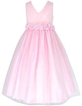 Tüll Brautjungfern Anlässe Festkleid Mädchen Weiß Kleid