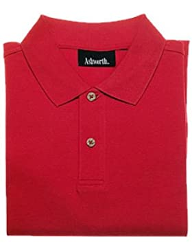 Ashworth–Camiseta de manga corta Plain Pique–Polo de golf para hombre, color rojo, rojo