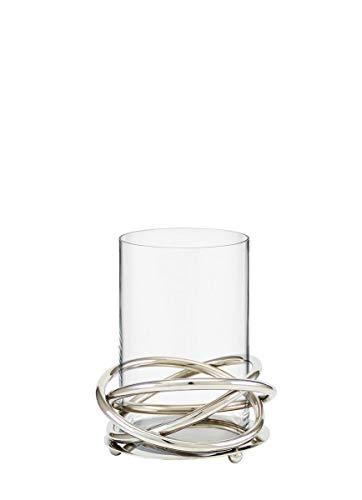 Kaheku Windlicht Crowne Edelstahlobjekt mit Einsatz eines Glaszylinders, Durchmesser 14 cm 99990361