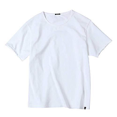 HYLNDX Herren Kurzarm T-Shirt Neue T-Shirts Männer Sommer Curl Raw Edge 100% Baumwolle Slub Jersey Slim Fit T-Shirt Kurzarm Marke T-Shirts - Raw Edge V-neck Tee