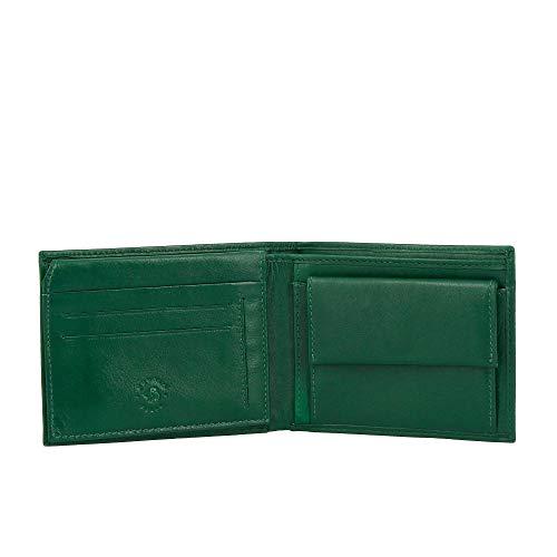 Nuvola Pelle Portefeuille pour Homme Classique en Cuir avec Porte-Monnaie et Porte-Cartes de crédit Vert