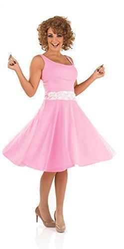 Damen Rosa Baby Tänzer 80's 1980s Mit Perücke Jahrzehnte TV Filmstar Promi Kostüm Kleid Outfit UK 8-22 Übergröße - Rosa, 16-18