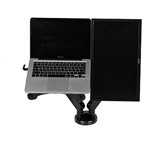 Zolion 2 en 1 LCD de doble brazo de soporte de movimiento completo Cuna de mesa Fácil Ajuste del resorte de gas para el ordenador portátil de 11 a 15,6 pulgadas con bandeja portátil y 19-30 pulgadas de Samsung / LG / HP / AOC / Dell / Asus / LCD Acer Monitor, con la abrazadera o OJAL Soporte de escritorio de carga frontal Puertos para dos USB 3.0 (armas duales para monitor y ordenador portátil)