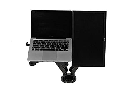 Zolion 2 in 1 Dual Arm LCD Stand Full Motion Desk Mount Easy Adjust Gas Spring for 11-15.6 inch Laptop with Notebook Tray and 19-30 inch Samsung/LG/HP/AOC/Dell/Asus/Acer LCD Computer Monitor ,With Clamp or Grommet Desktop Support Front-Loading Ports for Two USB 3.0 (Dual Arms for Monitor & Laptop)