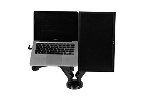 Zolion 2 in 1 doppio braccio supporto LCD Full Motion Desk Mount Easy Adjust molla a gas per 11-15,6 pollici portatile con il Notebook vassoio e 19-30 pollici Samsung / LG / HP / AOC / Dell / Asus / Acer LCD Monitor, con morsetto o GROMMET Desktop Supporto a caricamento frontale Porte per due USB 3.0 (armi doppie per Monitor & Laptop)