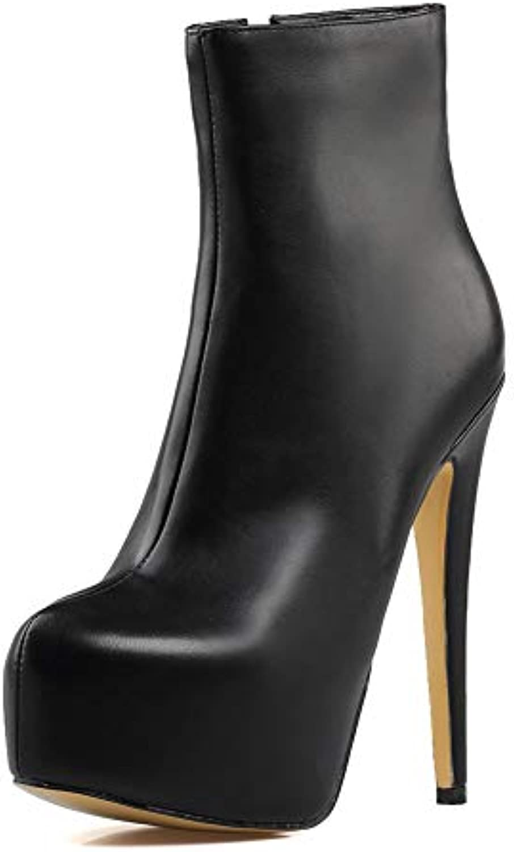 Donna Stivaletti Elegante stivali Platform Zip High Heels,MWOOOK-223 Sexy Moda Plateau Punk,neroa,35 | Primo gruppo di clienti  | Uomini/Donne Scarpa
