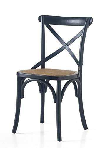 Legno&Design Chaise en Bois de Couleur Noire avec Assise en rotin.