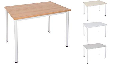 Schreibtisch / Besprechungstisch in verschiedenen Größen und Farben weißes Metallgestell Konferenztisch Arbeitstisch (B: 120 cm x T: 80 cm, Buche)
