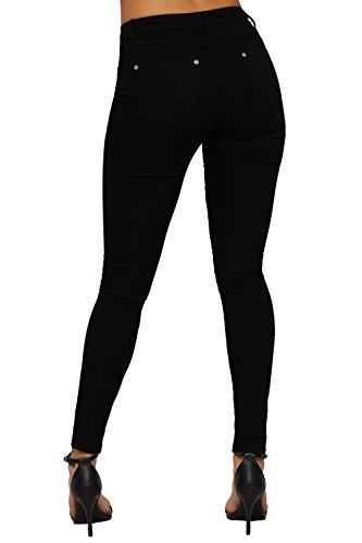 ... WEARALL Damen Rote Rose Dünn Demin Jeans Damen Schwarz Segeltuch Tasche  Zerrissenes Knie Hose - 34
