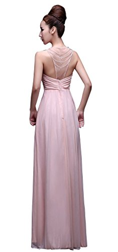 drasawee Off épaule Empire sol Longueur Femmes Demoiselle d'Honneur Soirée Party robe Rose - Rose