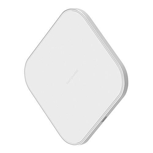 Fast Wireless Charger 10W Schnelles Qi Induktions Ladegerät, Ladestation für iPhone Xs/Xr/X/8/8 Plus, Samsung Galaxy S9/S8/S8 Plus/S7/S6 Edge/Note 8/Note 5 und Alle Qi-Fähige Geräte, White+Silver