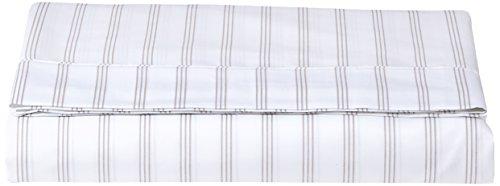 AmazonBasics Bettlaken, Mikrofaser, 240 x 320 + 10 cm - Grau gestreift -
