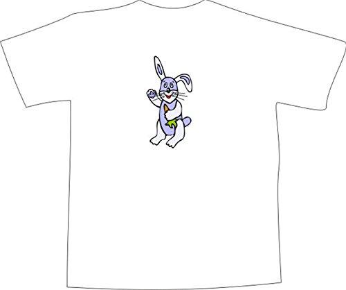 T-Shirt E703 Schönes T-Shirt mit farbigem Brustaufdruck - Logo / Grafik - Comic Design - dünnes lustiges Hasenbaby mit Karotte Weiß