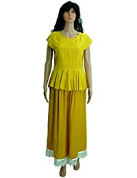 Peplum Top And Palazzo Pant Ethnic Suits Set For Women - V-Neck, Cap Sleeve, Pleated Mustard Yellow Peplum Top...