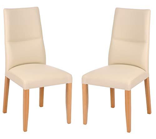 Main Möbel Stuhl 2-er Set \'Moritz\' Buche massiv Creme