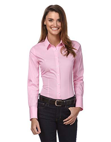 Vincenzo Boretti Damen Bluse besonders tailliert mit Stretch Langarm Hemdbluse elegant festlich Kent-Kragen auch für Business und unter Pullover pink 34 -
