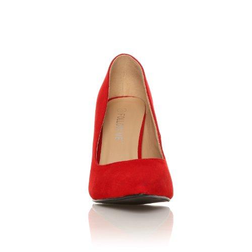 Scarpe con Tacco a Stiletto Alto, Decolletè e Fine a Punta, Finto Camoscio Rosso, DARCY Camoscio Rosso