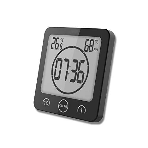 FLYDEER Dusche Uhr Badezimmer Uhr Digital Große Anzeige Touchscreen Timer mit Temperatur Luftfeuchtigkeit Display für Badezimmer Dusche Küche (Schwarz) - Uhr Lcd Dusche