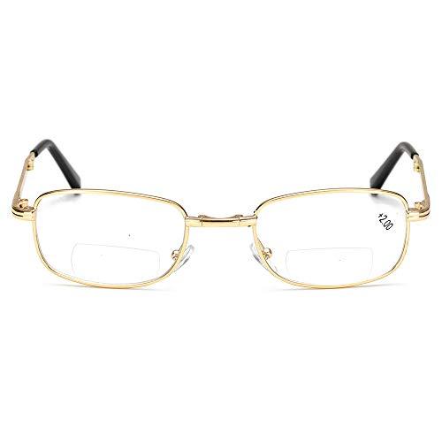 Lesebrille Faltbare presbyopische Brille Bifokale Brille Kompakte Brille Älterer Brillenträger Anti-Augenstress Presbyopie Spring Scharniere Super Leichtgewicht,1.5