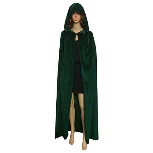 Bobopai Men Women Halloween Cloak with Hood Velvet Long Cape Christmas Party Costumes (Green,59