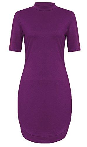 Fashion 4 Less - Robe - Manches Courtes - Femme Violet - Violet