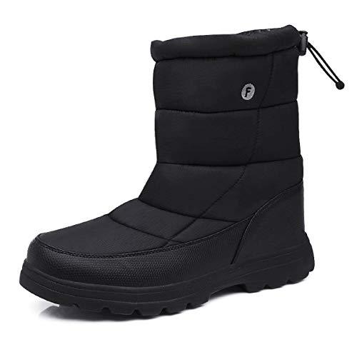Gracosy Bottines de Neige Hommes Femmes, Bottes Hiver Après Ski Plates avec Fourrure Chaude en Tissu Imperméable Chaussures Intérieur Fourrée Confortable Noir Bleu