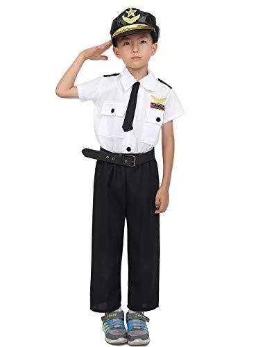 Airline Piloten Kostüm Kind - ranrann Piloten Kostüm Kinder Piloten Uniform T-Shirt+ Hosen+ Hut+ Gürtel+ Krawatte 5PC Bekleidungsset Jungen Dress Up Airline Pilot Cosplay Kostüm Schwarz 98-104/3-4 Jahre