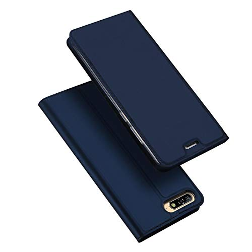 Verco Handyhülle für Y6 2018, Premium Handy Flip Cover für Huawei Y6 2018 Hülle [integr. Magnet] Book Case PU Leder Tasche, Blau