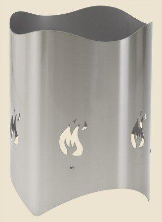 Manufaktur Rietberg Feuertopf FUMO aus gebürstetem Edelstahl Ø 380 mm, Höhe: 500 mm Feuerstelle Feuerkorb wird wie ein Feuerschale verwendet