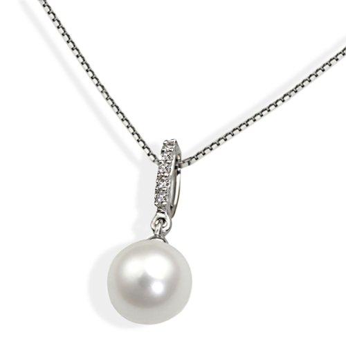 Goldmaid Damen-Halskette 585 Weißgold  1 weiße Perle 5 Diamanten 0,03 Karat Kettenanhänger Schmuck Perlenkette