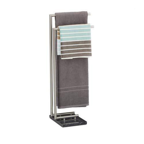 Relaxdays Handtuchhalter PIERRE, Handtuchstange freistehend, Handtuchständer Marmor, H x B x T: 84 x 34 x 30 cm, schwarz -