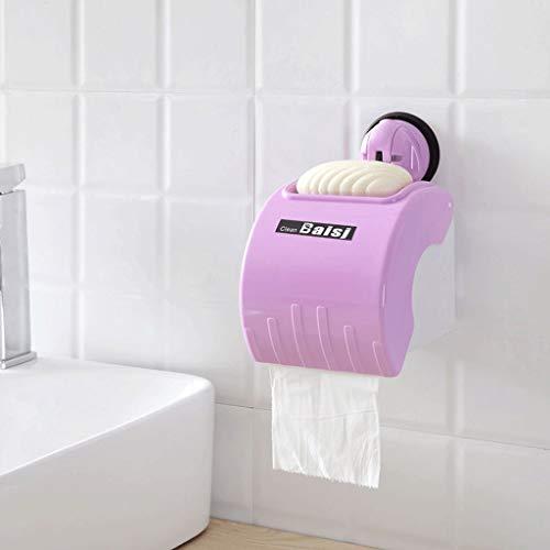 O&YQ Regenschirm Lagerregal Kostenlose Punch Toilettenpapier Box Bad Toilettenpapierhalter mit Regal Abdeckung Wasserdicht Toilettenpapierrollenhalter, Lila