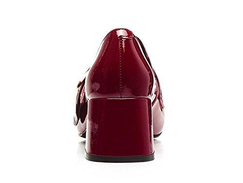 SHIXR Femmes Pompes Printemps Nouvelles Chaussures En Cuir Européennes Et Américaines Femmes Chaussures Avec Grosses Femmes Court Chaussures wine rouge leather finish