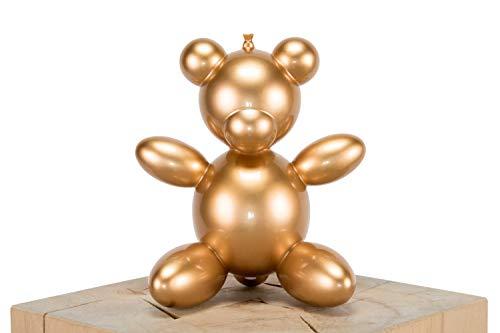 Kunstloft Extravagante Escultura Cuddle Bear' 25x20x15cm | Moderna Figura de Piedra Artificial | Moderno Peluche Decoración Dorado | Estatua única