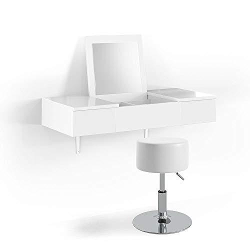 Vicco Schminktisch MIA Weiß Hochglanz wandhängend mit Hocker - Frisiertisch Kommode Spiegel +++ Schminkkommode mit 2 Schubfächer und einklappbaren Spiegel +++ (Zimmer Möbel)