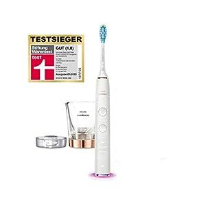 Philips Sonicare DiamondClean Smart Elektrische Zahnbürste mit Schalltechnologie HX9901/63, Andruckkontrolle, 4 Putzprogramme, Ladeglas, roségold-weiß