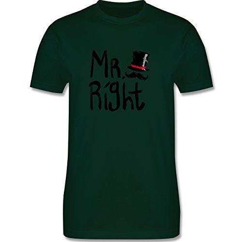 Hochzeit - Mr. Right Pinsel - Herren Premium T-Shirt Dunkelgrün