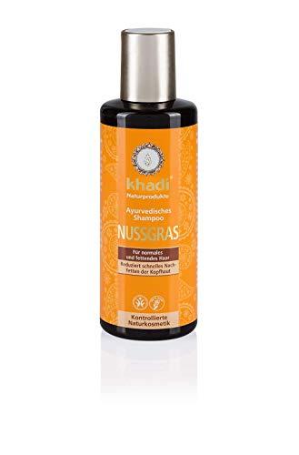 khadi Ayurvedisches Shampoo Nussgras 210ml I natürliches Haarshampoo für besondere Sprungkraft I 100% pflanzlich -