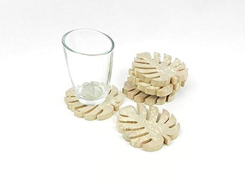 Set de 6 sous-verres fait main en bois naturel, en forme de feuilles de palmier