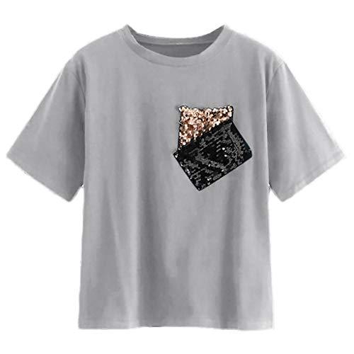 ESAILQ Frauen Beiläufig Kontrast Pailletten Tasche Lose Kurzarm Rundhals Tshirt Tops(X-Large,Grau) - Kontrast Stitch Denim