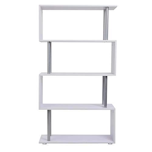 Librería Muebles para Oficina Estantería - Color Blanco - Madera y Metal - 145x80x30cm