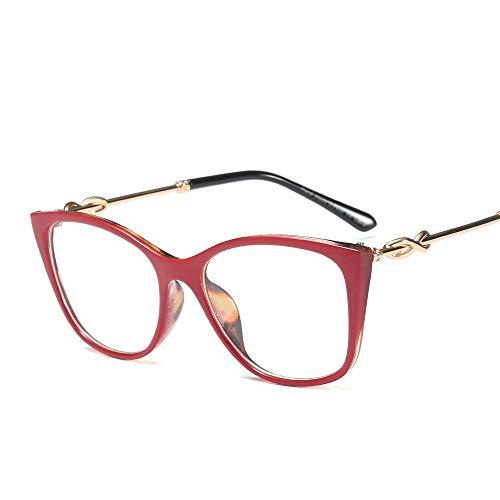 OuniaAAA Cat Eye Flat Glasses Frame Brillen Optische klare Linsengläser für Frauen (Farbe : Red/Leopard Print)