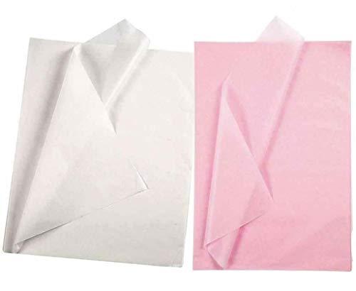 YooKreativ Seidenpapier Set, Weiß und Hellrosa, Blatt 50x70 cm. 20 Blätter, Transparentes Seidenpapier zum Basteln und zur Dekoration, Seidenpapier Weiß, Seidenpapier Rosa, Seidenpapier Pink