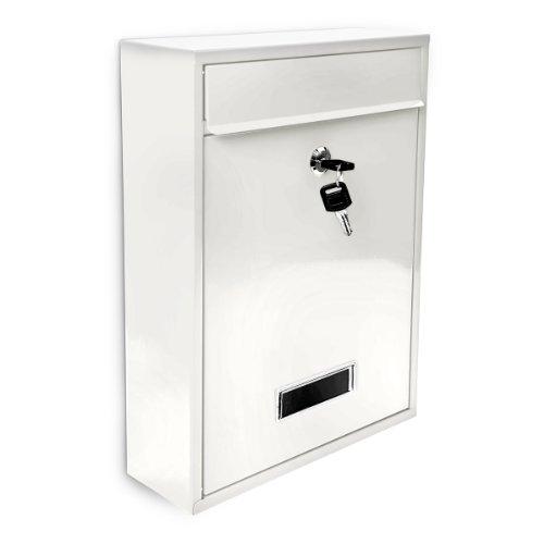 Design Briefkasten Metall Weiß 26,5 x 35 x 8,5 cm